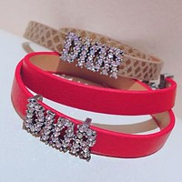 DIOR Fashionable Ladies Leather Letter Diamond Hand Catenary Bracelet Necklace Accessories Jewelry Red