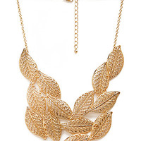 FOREVER 21 Cascading Leaves Bib Necklace Gold One