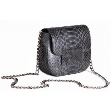 Circle & Square | Steel Gray Rimini Python Clutch/Shoulder Bag