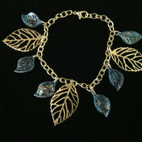 Gold and Green Leaves Bracelet Earring Set - The Beauty of an Autumn Leaf
