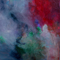 """Acrylic Painting Abstract Painting Red Green """"Out in the Storm"""""""