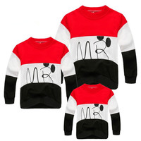 2017 New Family Look Cartoon T Shirts 2 Colors Spring Autumn Family Matching Clothes Mother and Daughter Clothes Family T-shirt