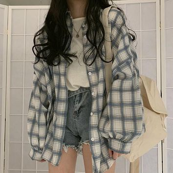 Women Vintage Plaid Oversized Blouse Lantern Sleeve Turn Down Collar White Shirt Button Up Casual Tops