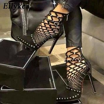 Eilyken 2021 Gladiator Sandals Summer Spring Pointed Toe Rivets Studded Cut Out Caged Ankle Boots Stiletto Heel Women Shoes