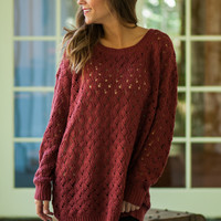 Snuggle Up Sweater, Wine