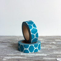 Blue Washi paper tape - 21 yards, 63 ft of geometric pattern tape, decorative tape, scrapbooking supplies, gift wrapping, craft supplies