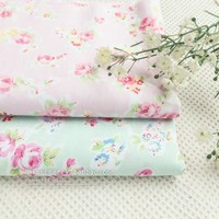 2pcs 160*50cm/pink blue roses  Shabby Chic Beautiful Roses Printed Cotton Fabric for Quilting Children Dress Bedding Tilda Cloth