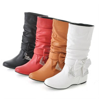 Winter Shoes Woman Bow Wedges Boots 2014 Winter & Fall (US Size) = 1946829828