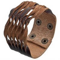 Brown Fringed Leather Wristband