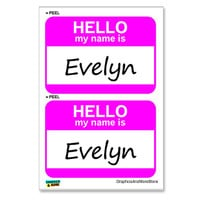 Evelyn Hello My Name Is - Sheet of 2 Stickers