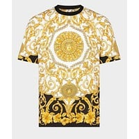 VERSACE Fashionable Men Casual F Letter Print Short Sleeve Top T-Shirt