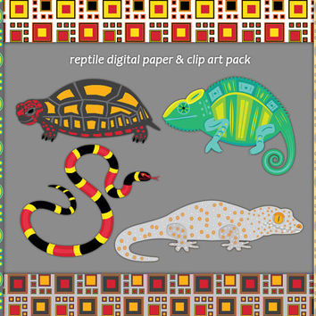 Reptile Clip Art and Digital Paper, chameleon, tokay gecko, coral snake, box turtle, circle and square background, clipart, Buy 2 Get 1 Free
