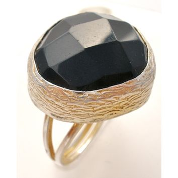 Gold Over Sterling Silver Black Onyx Size 7