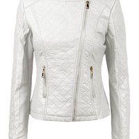 LE3NO Womens Stitched Faux Leather Zip Up Moto Jacket with Side Stretch Panel (CLEARANCE)