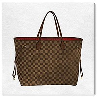 """The Oliver Gal Artist Co. Fashion and Glam Wall Art Canvas Prints 'Royal Handbag Chocolate' Home Décor, 16"""" x 16"""", Brown, White"""