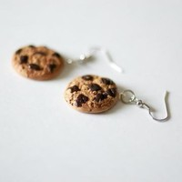 Polymer Clay Dangly Jumbo Cookie Earrings Chocolate Chip From the Cookies Galore by ThePolyShop
