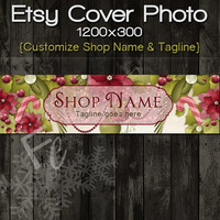 Etsy Shop Cover Photo 1200x300, Premade Christmas Holiday Floral Design, Customize Shop Name, Festive Etsy Shop, Great on Mobile Devices