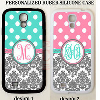 TEAL PINK POLKA DOT GREY DAMASK MONOGRAM RUBBER Case For Samsung Galaxy S7 NOTE