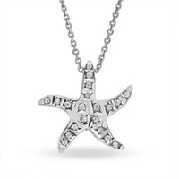 Diamond Fascination™ Starfish Pendant in Sterling Silver with Platinum Plate - View All Necklaces - Zales