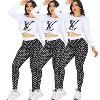 Louis Vuitton LV New fashion letter monogram print sports leisure long sleeve top and pants two piece suit