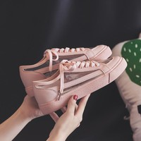 Women Summer Sneakers Pink Solid Color Female Shoes Transparent Lace Up 2018 New Trending Style Casual Shoes Flats Size 35-40