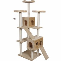 """73"""" Cat Kitty Tree Tower Condo Furniture w/ Scratch Post and Bed - Beige"""
