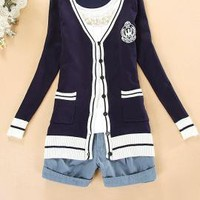 Ivy League Crested Knit Cardigan Sweater in Preppy Navy   Sincerely Sweet Boutique