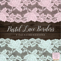 Wedding Clipart Lace. Pastel Lace Border Clip Art. Shabby Chic Lace Frame. Bridal Shower, Wedding Clipart. Peach, Mint, Pink Seamless Lace