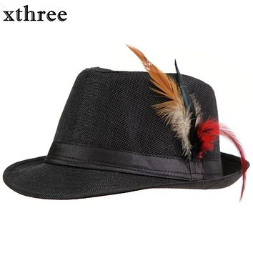 Xthree Trendy Unisex Side with feathers Fedora Trilby Gangster Cap For Women Summer Beach Sun Straw Panama Hat Men Fashion Hats