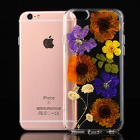 Handmade Real Flowers Pressed Soft Case for iPhone 5 5s SE 6 6s plus or for samsung s7 edge Skin Coque Shell Cover cases Floral