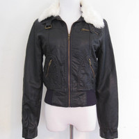Papaya Faux Leather & Fur Bomber Moto Jacket S/M