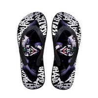 2016 Fashion Men's Wear-Resistant Flip Flops Summer Beach Slippers,Funny Harley Quinn and Joker Printed Shoes,Male Flats Sandals