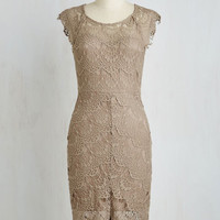Mid-length Short Sleeves Sheath Game of Glam Dress in Khaki