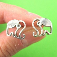 Elephant Outline Animal Stud Earrings in Sterling Silver | DOTOLY