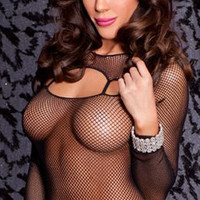Black Fishnet Top Shirt with Long Sleeve Shrug & Garters / Thigh Highs