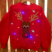 Light-up ugly Christmas sweater! - Rudolph
