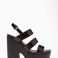 Faux Patent Leather Platform Sandals