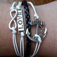 New hot infinity anchor love leather cute charm bracelet silver great gift for bridesmaids birthday friends ect... #20