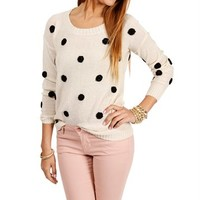 SALE-Ivory/Black Polka Dot Sweater
