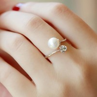 New Arrival Stylish Shiny Gift Jewelry Pearls Adjustable Ring [6586111815]