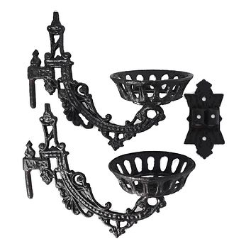 Antique Victorian Iron Wall Sconce Oil Lamp Holder Two Arm Ornate