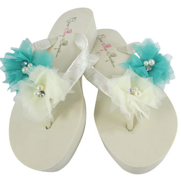 Aqua & Ivory Flower Wedge Flip Flops- Bridal & Bridesmaid Sandals for the Wedding