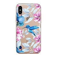 Colored Vintage Hummingbird - iPhone Clear Case