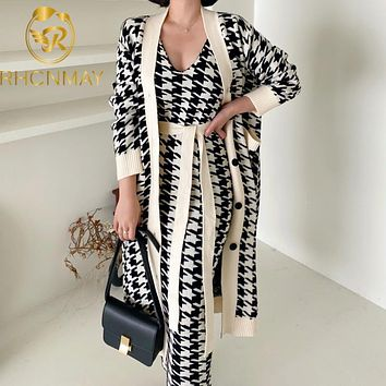 2020 Korean Sweater Set Fashion Vintage Style V-Neck Long Knitted Sweater Coat + Houndstooth Vest Dress Female Two-Piece Suit