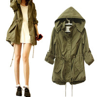 2015 New Women Winter Warm Army Green Military Parka Trench Hooded Coat Jacket QL