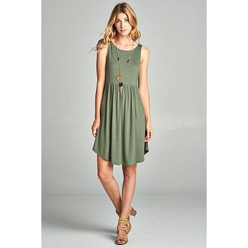 Simple Spring Tank Style Dress - Olive