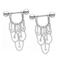 CZ Crystal Chandelier Drop Nipple Ring Barbell Piercing Jewelry Shield 14g