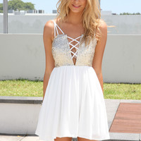 White Sleeveless Dress with Sequin Cutout Criss-CrossTop