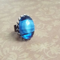 Large Vintage Blue Striped Cabochon Adjustable Bold Statement Ring