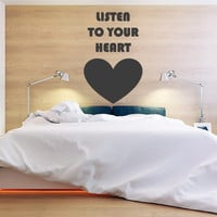 Wall Decor Vinyl Sticker Room Decal Heart Love Passion Kiss Listen to your heart Word Sign Quote Letter Song Roxette Advice Phrase (s114)